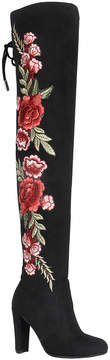 Refresh Black Floral Honey Over-the-Knee Boot