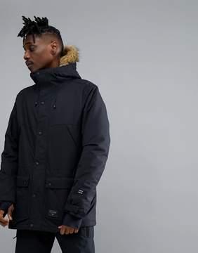 Billabong Winter Parka in Black with Faux Fur Hood