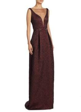 Theia Pleated Floor-Length Gown