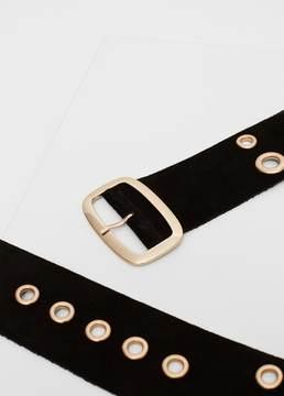 Mango Outlet Laser-cut leather belt