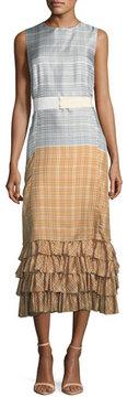 Brock Collection Dottie Plaid Ombre Silk Twill Convertible Dress