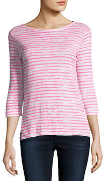 Neiman Marcus Majestic Paris for 3/4-Sleeve Dyed-Stripe Linen T-Shirt