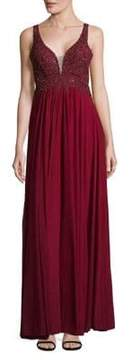 Betsy & Adam Embellished Plunge Empire Gown