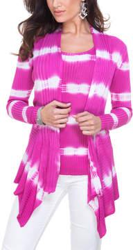 Belldini Wildberry Stripe Open Cardigan - Women