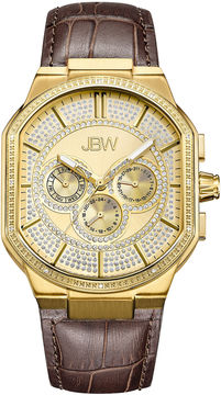 JBW Orion 18k Gold-Plated 0.12 C.T.W Diamond Mens Brown Strap Watch-J6342b