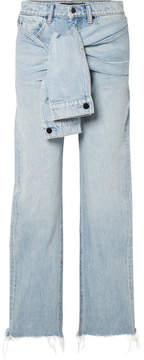 Alexander Wang Stack Tie Tie-front Distressed High-rise Straight-leg Jeans - Light denim