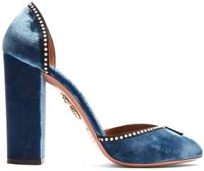 Aquazzura Lou Lou 110 embellished block-heel velvet pumps