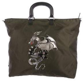 Prada Nylon Dragon Appliqué Tattoo Shopping Tote