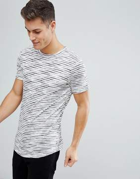Jack and Jones Originals Stripe T-Shirt With Curved Hem