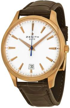 Zenith Captain Central Second White Brown Leather Men's Watch