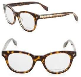 Alexander McQueen 47MM Round Tortoieshell Glasses