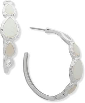 Nine West Mother Of Pearl Shell Silver Tone Hoop Earrings One Size White/silver tone