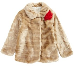 Kate Spade Girl's Faux Mink Fur Coat