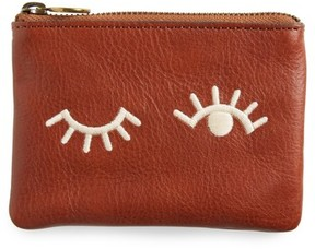 Madewell The Small Pouch Clutch: Embroidered Face Edition - Brown
