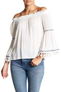 Dee Elly Off-the-Shoulder Tassel & Embroidery Detail Blouse