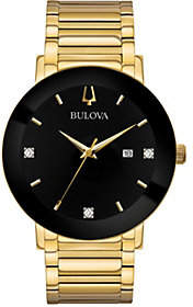 Bulova Men's Goldtone Black Dial Bracelet Watch