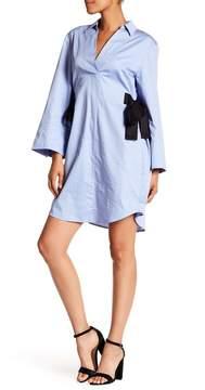 Nine West Bell Sleeve Contrast Tie Shirt Dress
