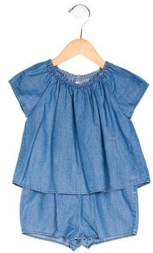 Chloé Girls' Chambray Short Sleeve Romper