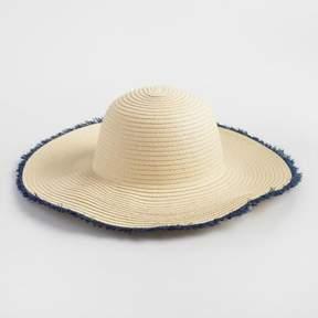 World Market Blue and Beige Sun Hat