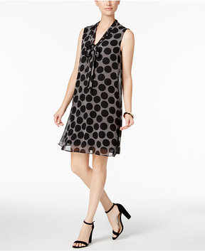 Connected Tie-Neck Shift Dress