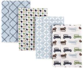 Hudson Baby Blue & Gray Cars Flannel Burp Cloth - Set of Four