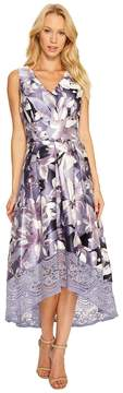 Sangria V-Neck Floral Print High-Low Fit and Flare with Pockets