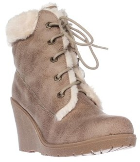 DOLCE by Mojo Moxy Fresco Wedge Ankle Boot Booties, Camel.