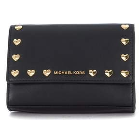 Michael Kors Ruby Black Leather Shoulder Bag With Golden Heart Studs. - NERO - STYLE