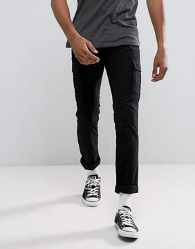 New Look Slim Cargo Pants In Black