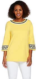 Bob Mackie Bob Mackie's 3/4 Sleeve Ponte Knit Top withSequin Detail