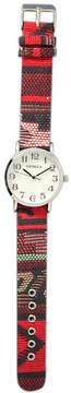 MOP OLIVIA PRATT Olivia Pratt Womens Silver-Tone Faux Dial Red Patterned Fabric Strap Watch 10352Tr
