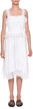 Ermanno Scervino Sleeveless Lace Poplin Midi Dress