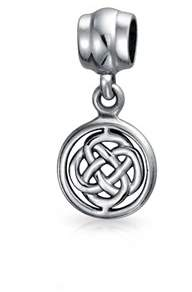 Celtic Bling Jewelry Round Knot Dangle Bead Charm .925 Sterling Silver.