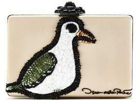 Oscar de la Renta Seagull Embroidered Leather Rogan Clutch