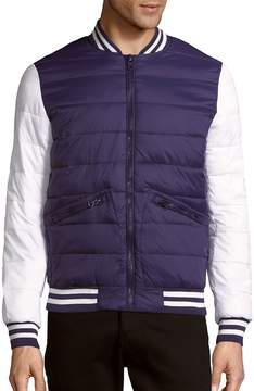 Members Only Men's Zip-Front Colorblock Varsity Jacket - Blue, Size xx-large