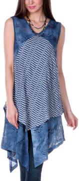Lily Blue Stripe Crochet Tunic - Women