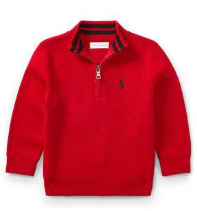 Ralph Lauren Half-Zip Cotton Pullover, Red, Size 9-24 Months