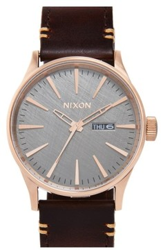 Nixon 'The Sentry' Leather Strap Watch, 42Mm