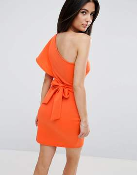 Club L One Shoulder Scuba Ruffle Detail Dress With A Bow Tie Back Detail