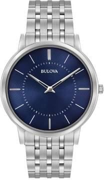 Bulova Classic 96A188 Blue/Silver Analog Quartz Unisex Watch