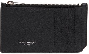 Saint Laurent Fragments Leather Card Holder - BLACK - STYLE