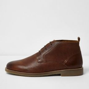 River Island Mens Brown textured leather desert boots