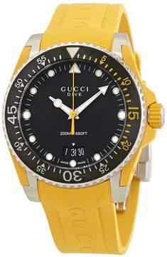 Gucci Dive Black Dial Men's Yellow Rubber Watch
