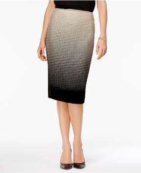 ECI Flocked Polka-Dot Pencil Skirt
