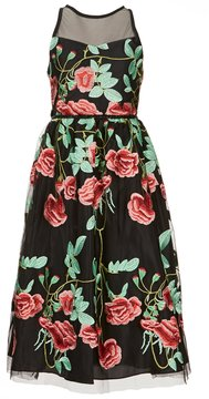 Rare Editions Big Girls 7-16 Illusion Neckline Floral Embroidery Long Dress