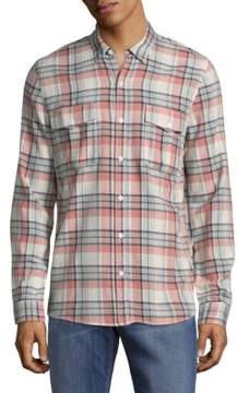 Zadig & Voltaire Thibaut Plaid Cotton Casual Button-Down Shirt