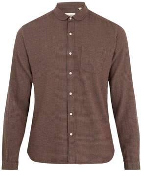 Oliver Spencer Eton round-collar micro-checked cotton shirt