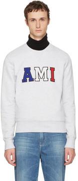 Ami Alexandre Mattiussi Grey Tricolor Logo Sweatshirt