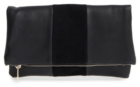 Bp. Tonal Stripe Foldover Clutch - Black