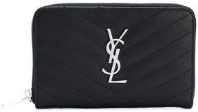 Saint Laurent logo monogram zip wallet - BLACK - STYLE